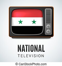National Television - Vintage TV and Flag of Syria as Symbol...