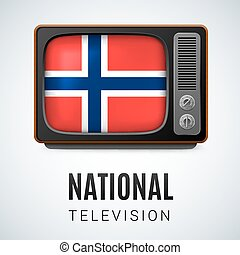 National Television - Vintage TV and Flag of Norway as...