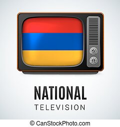 National Television - Vintage TV and Flag of Armenia as...