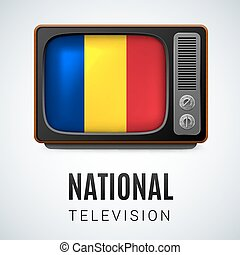 National Television - Vintage TV and Flag of Romania as...