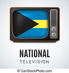 National Television - Vintage TV and Flag of the Bahamas as...