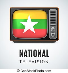 National Television - Vintage TV and Flag of Myanmar as...