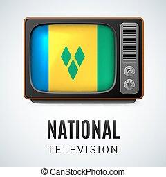 National Television - Vintage TV and Flag of Saint Vincent...