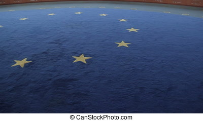 interior floor with european flag - interior floor with...