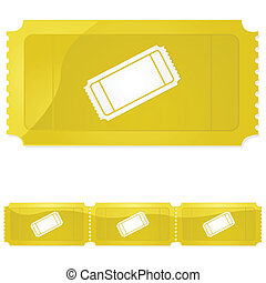 Golden ticket - Glossy illustration of a golden ticket -...