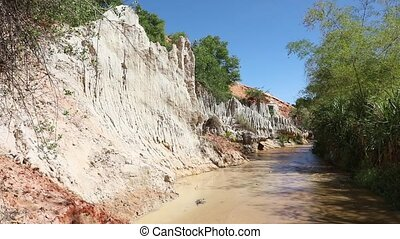 Fairy Stream Canyon. Red river between rocks and jungle. Mui...
