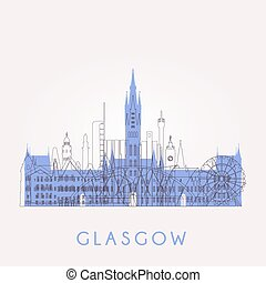 Outline Glasgow skyline. - Outline Glasgow skyline with...