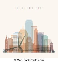 Oklahoma City state Oklahoma skyline detailed silhouette.