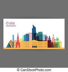 Oslo colorful architecture  illustration.