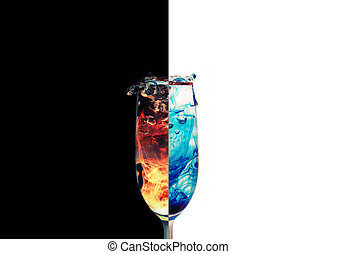 Fire and Ice - A dual photo of a splashing glass
