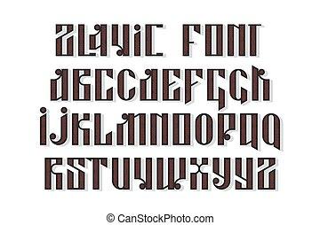 Slavic font set - Slavic font. Custom type vintage letters...