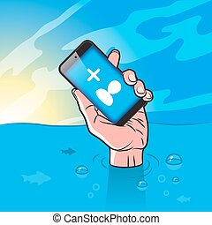 Drowning man with Smartphone in Hand with follower icon on...