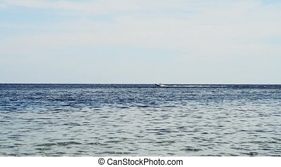 speed boat in the sea. sport boat in the sea on an evening...