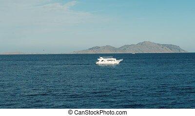 boat in the sea. ship in the sea