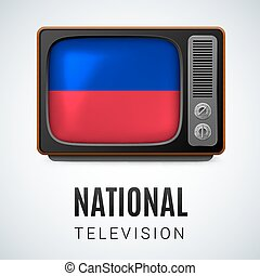 National Television - Vintage TV and Flag of Haiti as Symbol...