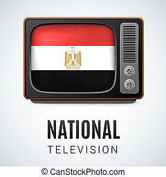 National Television - Vintage TV and Flag of Egypt as Symbol...