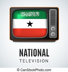 National Television - Vintage TV and Flag of Somaliland as...