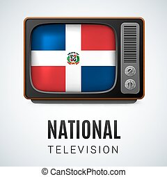 National Television - Vintage TV and Flag of Dominican...