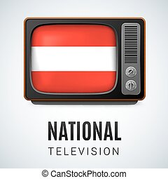 National Television - Vintage TV and Flag of Austria as...