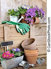 jardinería, accesorios, Macetas