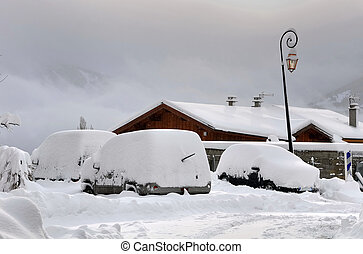 snowy cars in a parking - cars snowy in a parking in a...