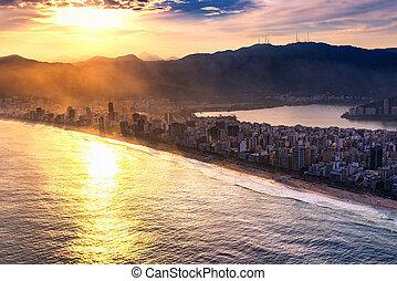 Ipanema beach at sunset, aerial view