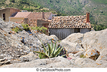 mountain village in Corsica - ancient houses in a Corsica...
