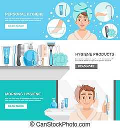 Morning Hygiene Banners Set - Personal hygiene products...