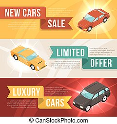 Car Dealership Leasing Horizontal Banner Set - Three colored...