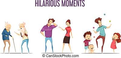 Families Couples Hilarious Moments Cartoon Set - Hilarious...
