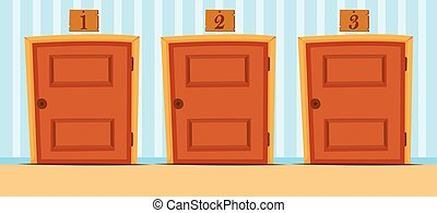 Doors with numbers in the house