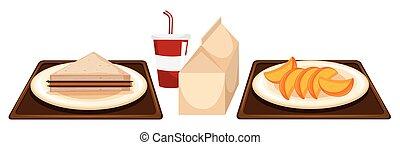 nourriture, cantine, deux, plateaux