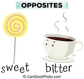 Opposite words for sweet and bitter illustration