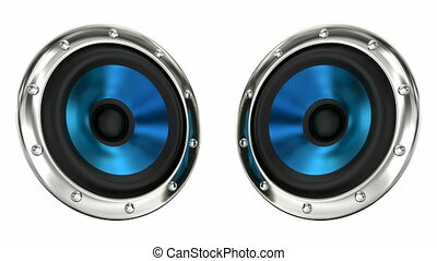Blue stereo speakers 3D animation - Blue loudspeakers...