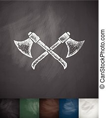 axes icon. Hand drawn vector illustration. Chalkboard Design