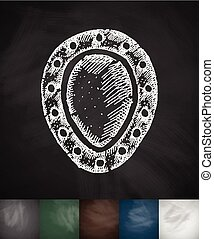 shield icon. Hand drawn vector illustration. Chalkboard...