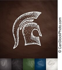 Helm knight icon. Hand drawn vector illustration. Chalkboard...