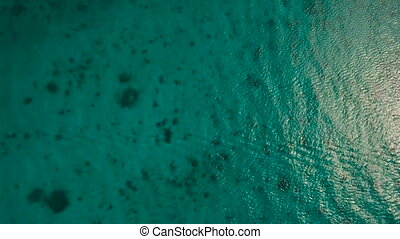 Water surface aerial view.Boracay island Philippines. -...