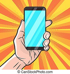 Smartphone in Hand - PopArt Style Mokup with Smartphone in...