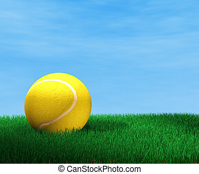 Tennis ball - 3d image of tennis ball and grass