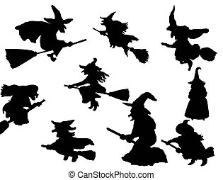 witch flying on broom - vector collection of isolated witch...