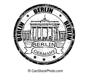 Berlin stamp - Black grunge rubber stamp with Brandenburg...