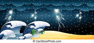 Tsunami scene with thunderstorms illustration