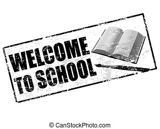 welcome at school stamp - Black grunge rubber stamp with...