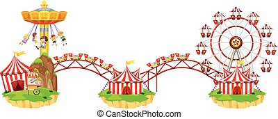 Circus scene with many rides illustration