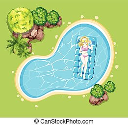 Woman on floating raft in the pool illustration