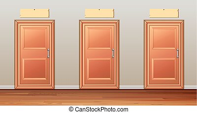 Three wooden doors in the hallway illustration