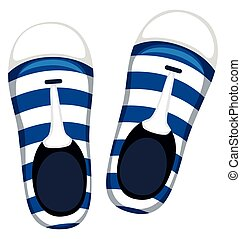 Pair of shoes with blue stripes