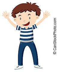 Happy boy with his hands up illustration