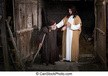 Jesus blessing the lame - Jesus healing the lame or crippled...